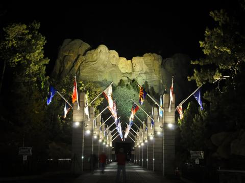 Illuminating the famous faces on Mount Rushmore for nighttime viewing
