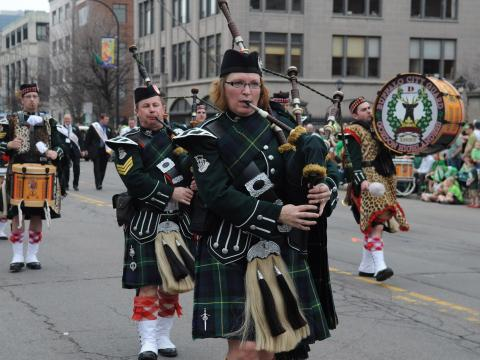 Bagpipers the St. Patrick's Day Parade in Buffalo