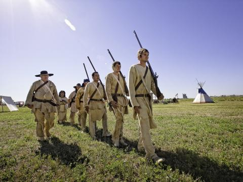 Costumed reenactors at Clark Days, where visitors can learn about Montana history