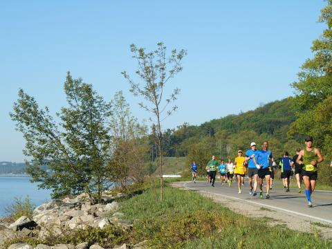 The picturesque path of the Bayshore Marathon