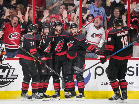 Members of the Carolina Hurricanes National Hockey League team