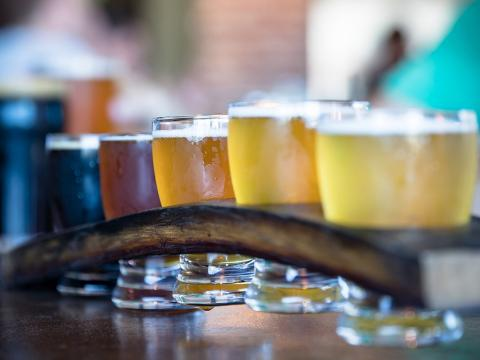 A flight of craft beers in Paso Robles, California
